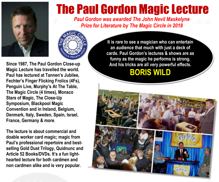 Paul Gordon Card Magic Lecture! – May 31, 2020